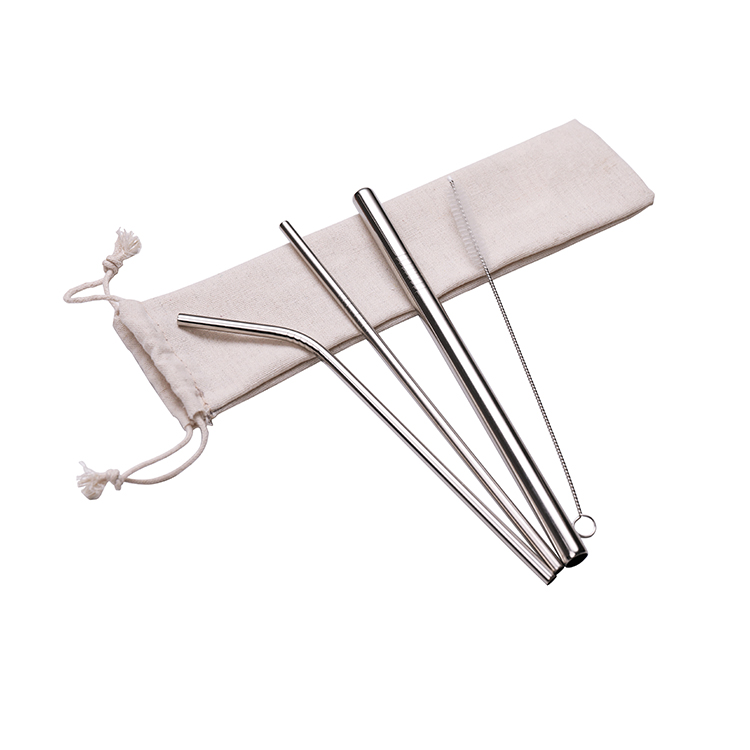 Eeo-friendly Reusable Metal Drinking 304 Straws Stainless Steel Straw Set with Customized Logo
