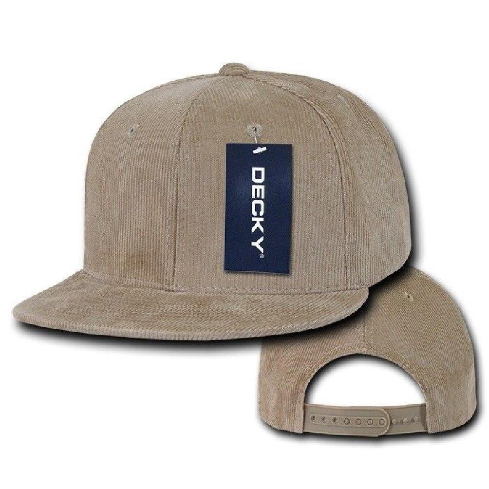 303fc78f265 Get Quotations · Khaki Beige 6 Panel Blank Solid Flat Bill Corduroy  Snapback Baseball Cap Hat