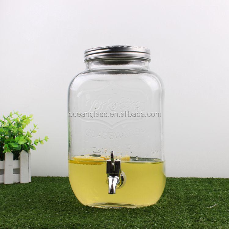 4l verre pot mason boisson distributeur d 39 eau carr boisson pot avec robinet id de produit - Pot en verre ikea ...