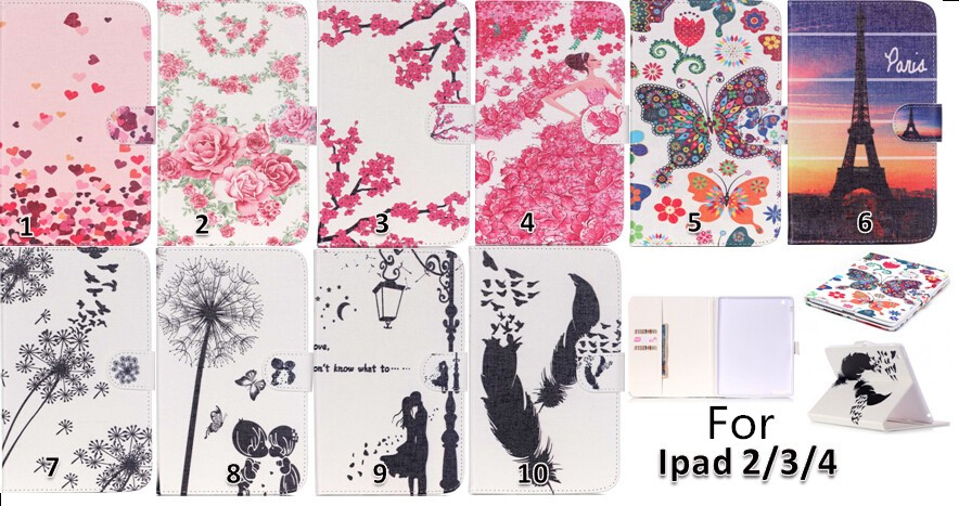High Quality Colorful Patterns PU Leather Flip Case Cover for iPad 2/3/4 with Kick Stand