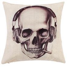 patrn de crneo de la vendimia de algodn de lino throw pillow case decoracin cojn sof