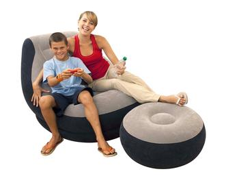 Intex Inflatable Chair 68564  Ultra Lounger & Ottoman Set Air Chair With Footrest
