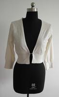Fashion white ladies bead 100%pima cotton poncho cardigan sweater