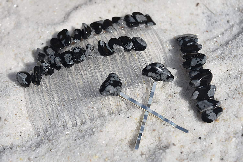 Snowflake Obsidian Stone Hair Clip Set - Includes 2 Hair Combs, 1 60 mm French Barrette, 2 Hair Pins