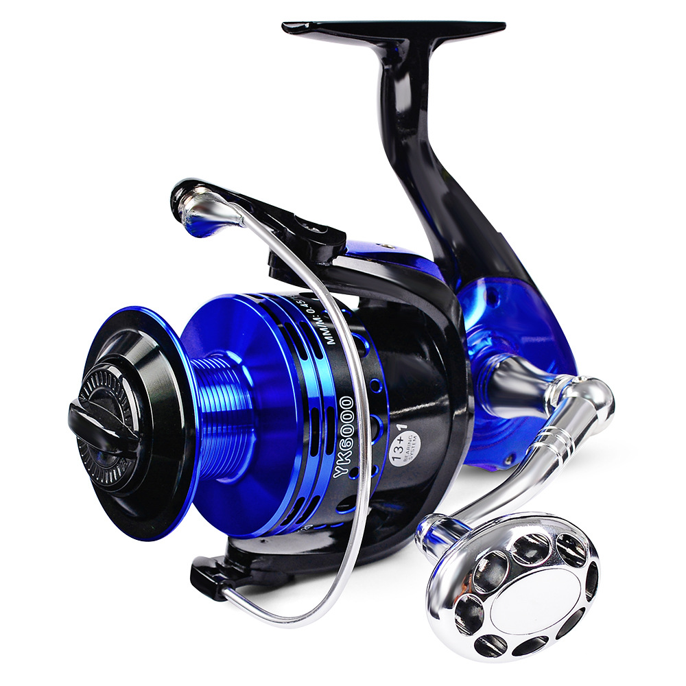 Fulljion Spining Fishing Reel 13+1BB Spinning Reels 3000/4000/5000/6000, Left/Right Interchangeable Handle For Fishing Tackle, Black;blue;white;red