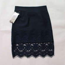 New 2015 Spring Women Skirt Lace Stretch Office Black Pencil Skirts KB655