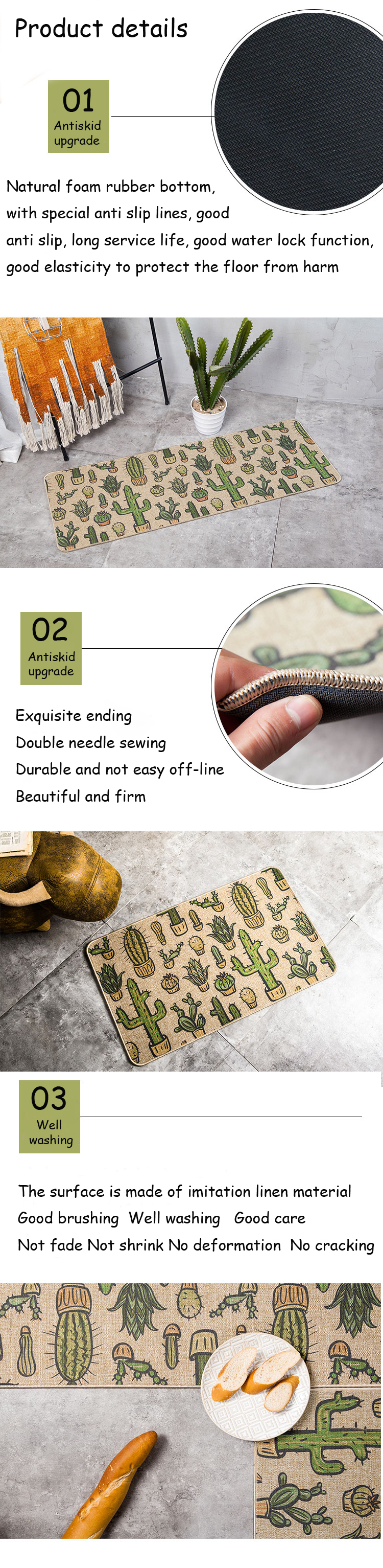 Natural Rubber Back Cactus Kitchen Rug Sets Mat Oil Proof Waterproof Anti  Pollution Non Skid Imitation Linen Cloth Design Carpet - us518 b1fd8b32e3