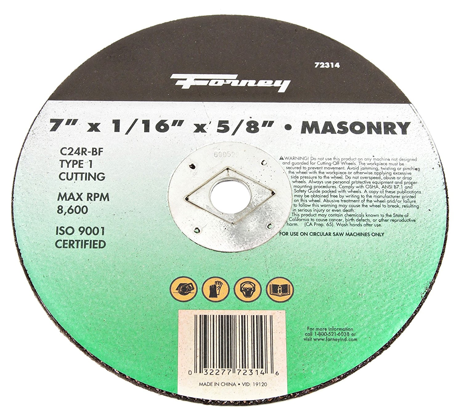 Forney 72314 Cut-Off Wheel, Type 1 Masonry with 5/8-Inch Arbor, C24R-BF, 7-Inch-by-1/16-Inch