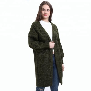 Wholesale Women Cotton knitwear Long Cardigan Sweater manufacturers