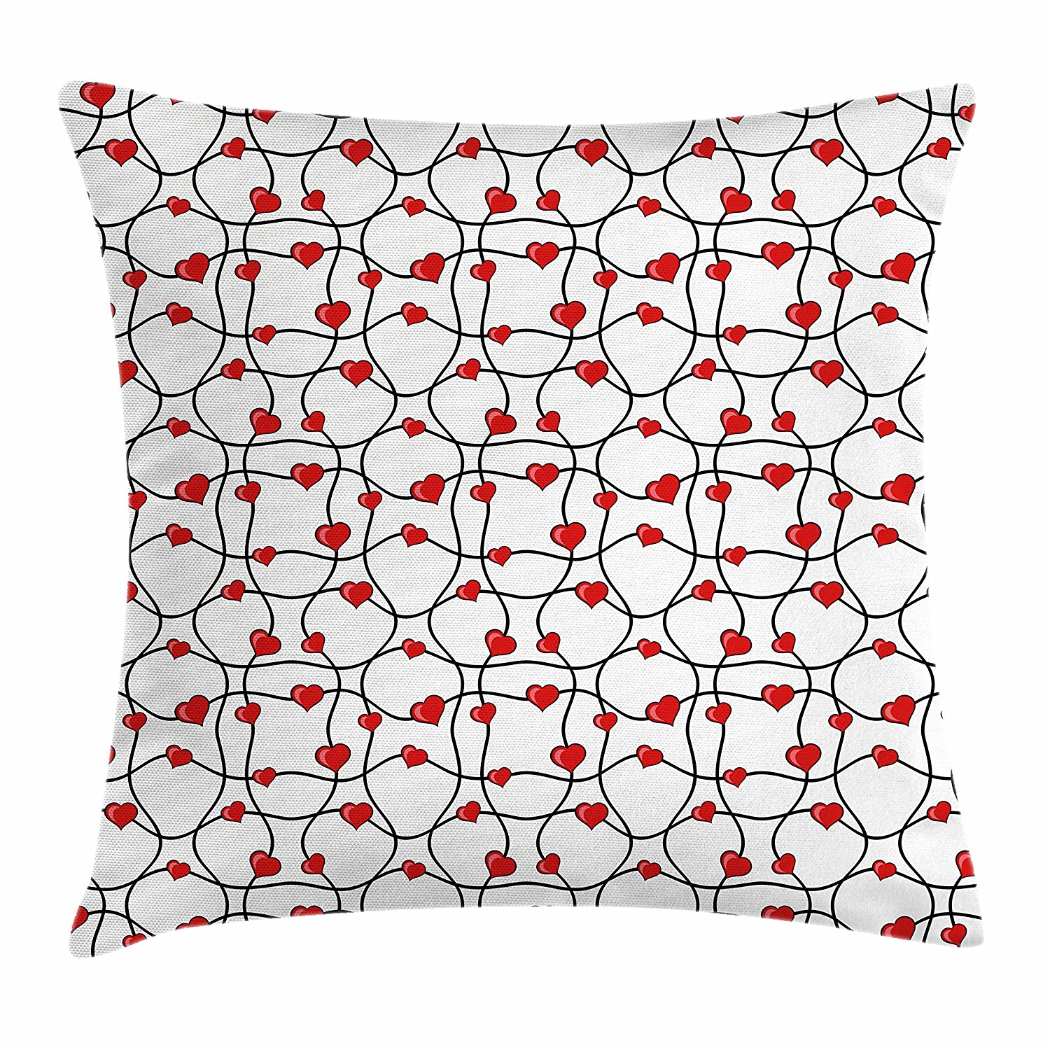 Lunarable Hearts Throw Pillow Cushion Cover, Abstract Lines with Hearts Geometrical Image Love Themed Modern Surreal Design, Decorative Square Accent Pillow Case, 28 X 28 Inches, Red Black White