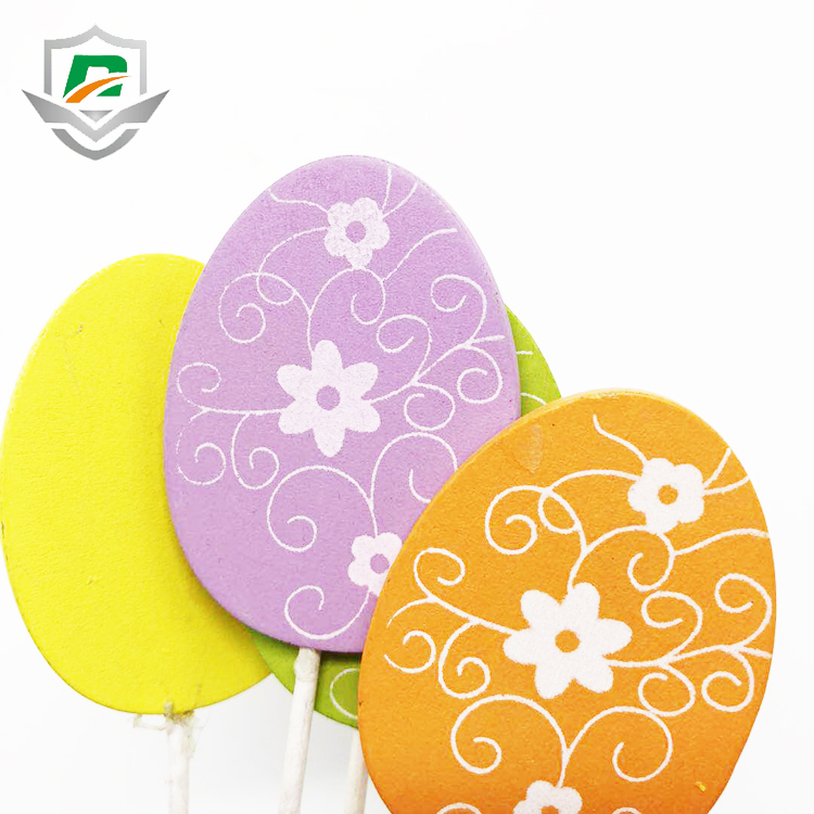 china low price party favor elliptical wood yellow egg stick with flower pattern