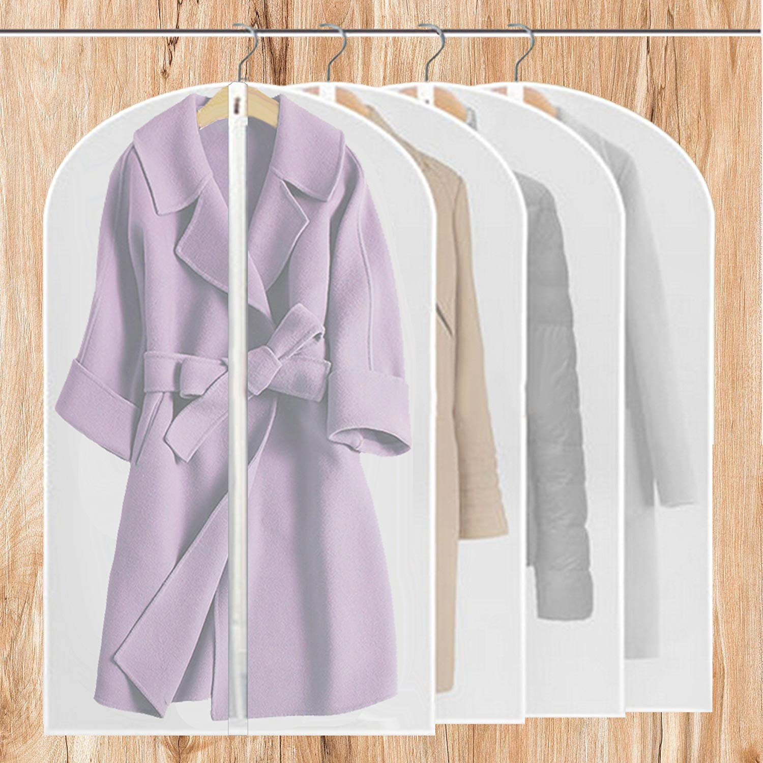 Soft sturdy (Upgraded Version) PEVA 6 Pack Clear Garment Bag With Zipper For Storage Clothes,Travel,Moth Proof Garment Bags,And Free 2 Pack Drawstring Shoe Bags