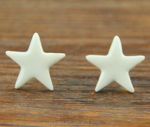 Latest fashion!! Wholesale five-star design charm earrings cute ceramic jewelry for girls