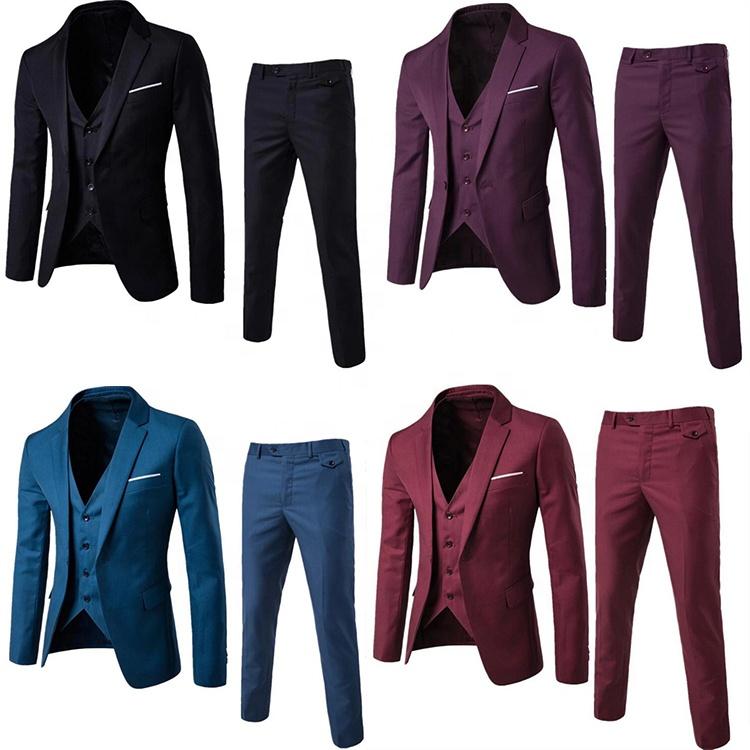 Snel Schip 9 Kleuren Mannen Slim Fit Een Botton Bruiloft Pak (Blazer + Broek + Vest) 3 Stuks Mannen Zakelijke Formele Pak
