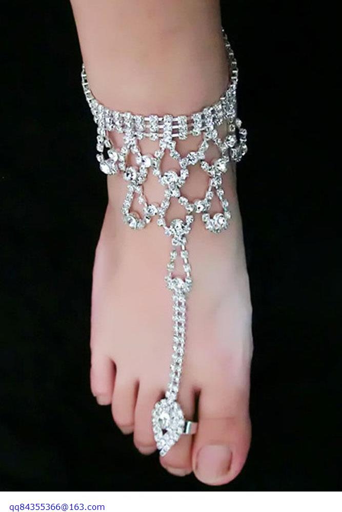 Diamond Anklet With Toe Ring LC00035-in Anklets From