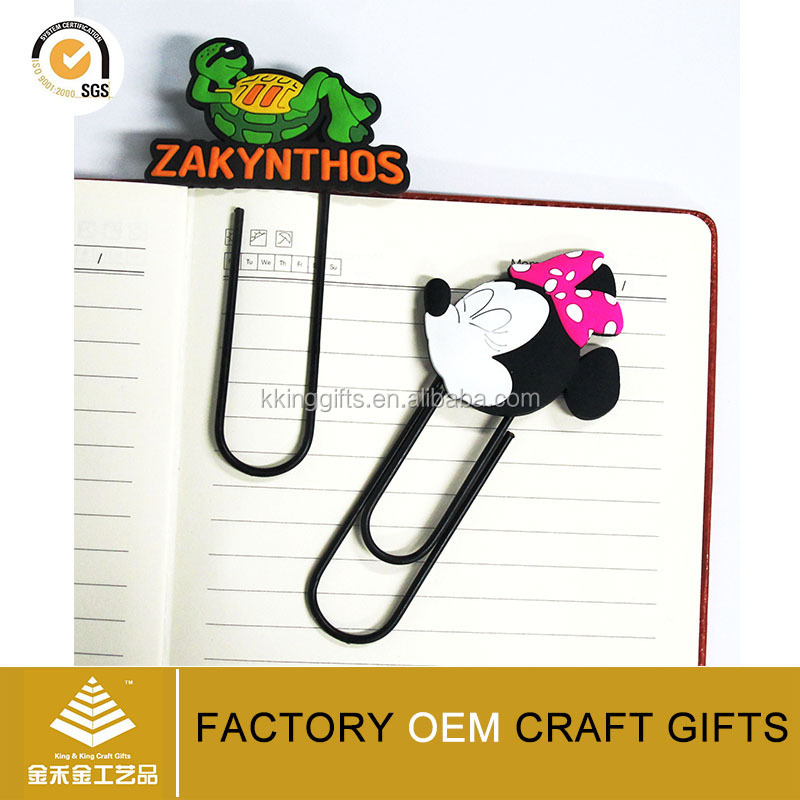 Stationery wholesale custom logo paper clip bookmark cute aniaml shaped 3D soft pvc metal paper clip