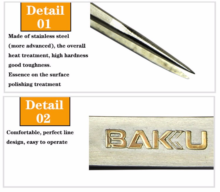 BK-T7 SS-SA professional anti-acid stainless steel led lighting tweezers for mobile phone repair tools