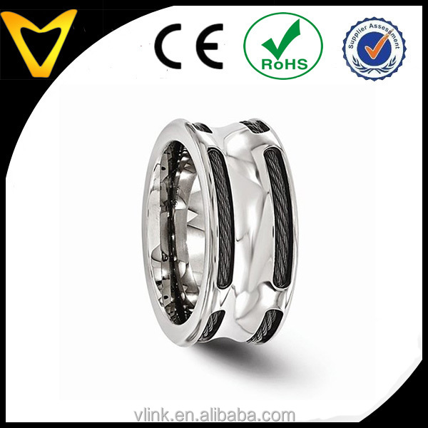 Designer 2015 New Designed Wedding Jewelry Titanium Band Rin Wholesale, Titanium Concave Stainless Steel Cable 10mm Wedding Band