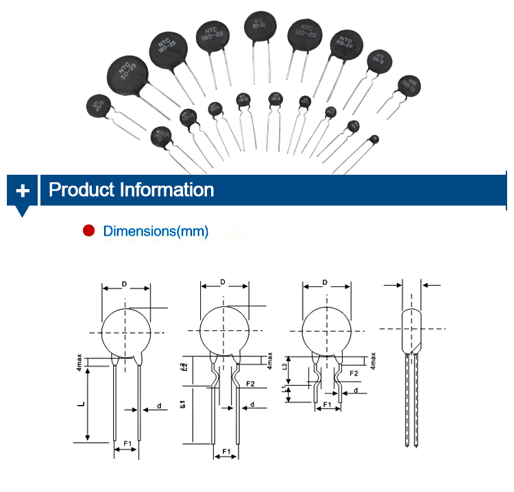 Variable NTC Thermistor 5D-13 5Ohm 500Ohm Mass Production 1K 10K 100K High Temperature