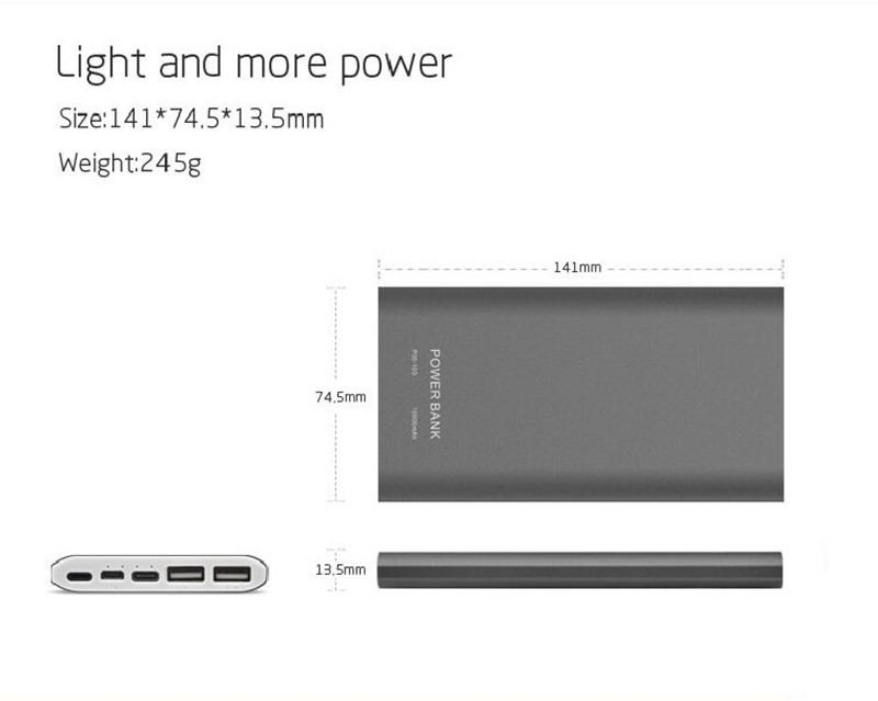 Leeon Power High Capacity Latest Style Metal Power Bank 10000mAh Good Quality LED Display Universal Portable Charger