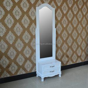 High quality fashion and simple design modern solid wood standing mirror in white finish