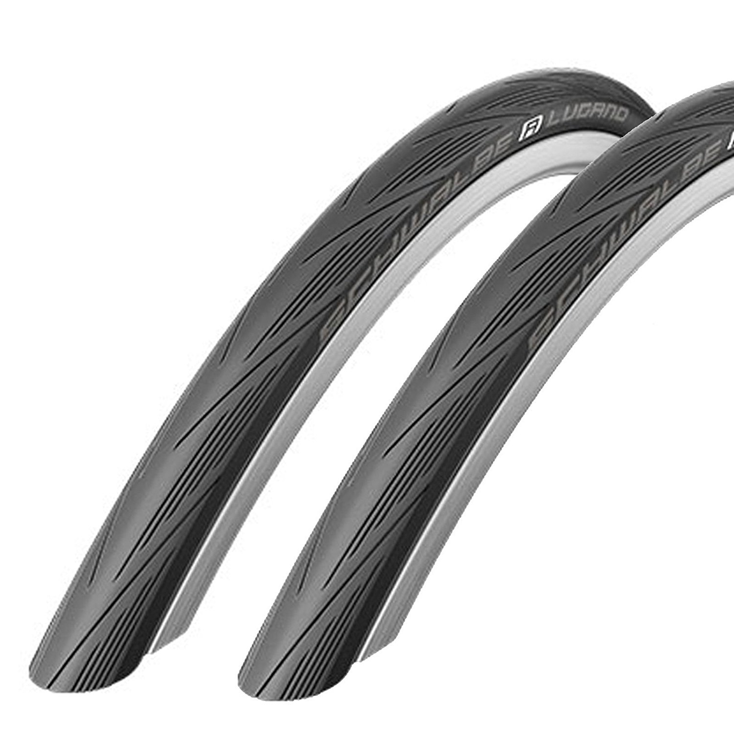 Schwalbe Lugano 700c x 25 Road Racing Bike Tires (with Puncture Protection) (PAIR)