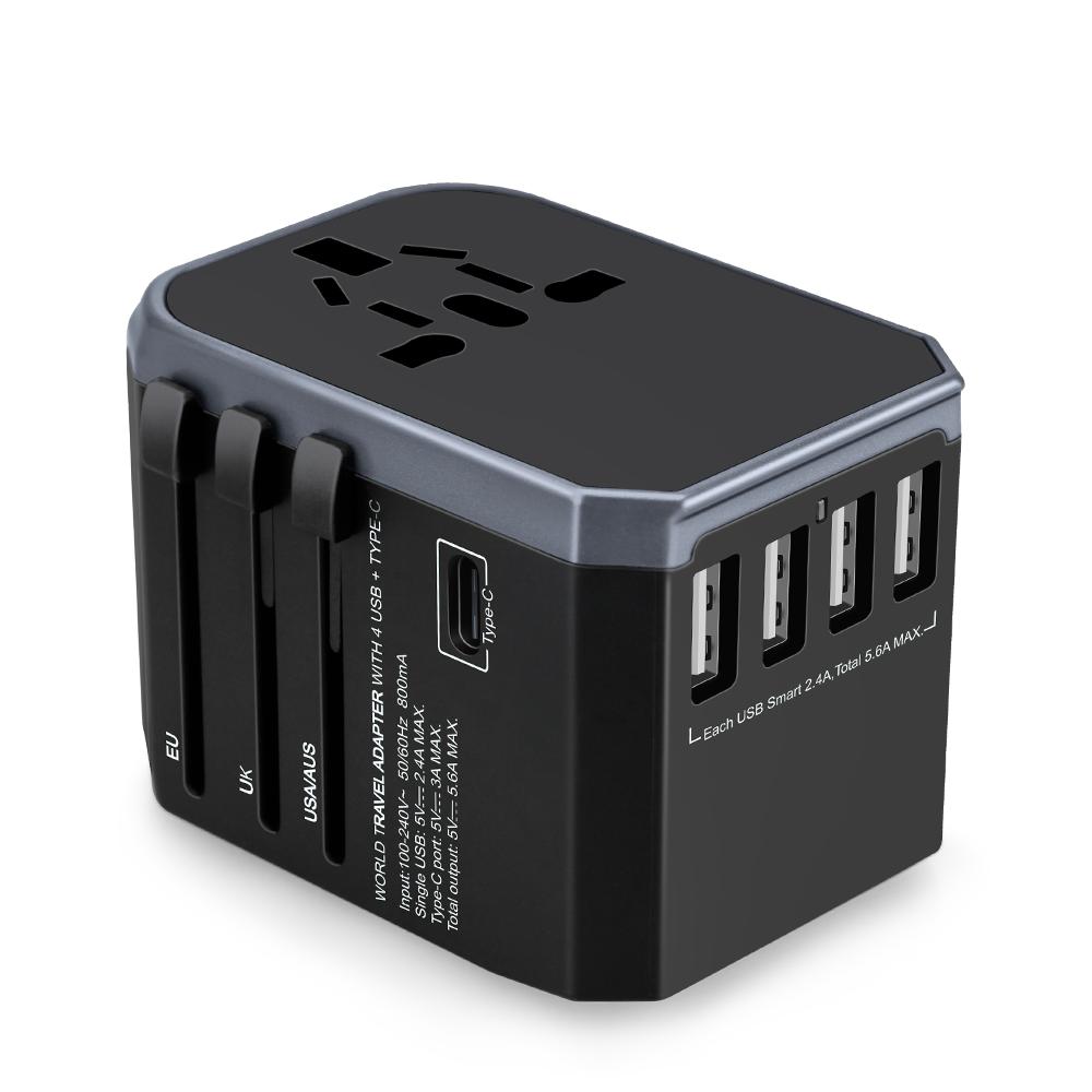 New USB Universal Travel Adapter USA Europe UK AUS worldwide plugs Type C charger travel adaptor