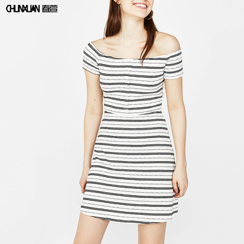 Korea Style Women Off Shoulder Striped Mini T Shirt Dress Design