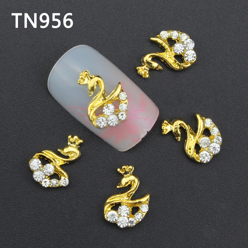 10pcs Glitter Swan Rhinestones 3d Nail Art Decorations Alloy Nail Sticker Charms Jewelry for Nail Gel