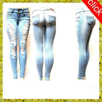 light blue womens denim stretch jeans destroy skinny leg