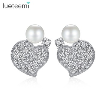 LUOTEEMI Women Fashion Cubic Zirconia Micro Paved With White Pearl Cute Romantic Heart Stud Earrings