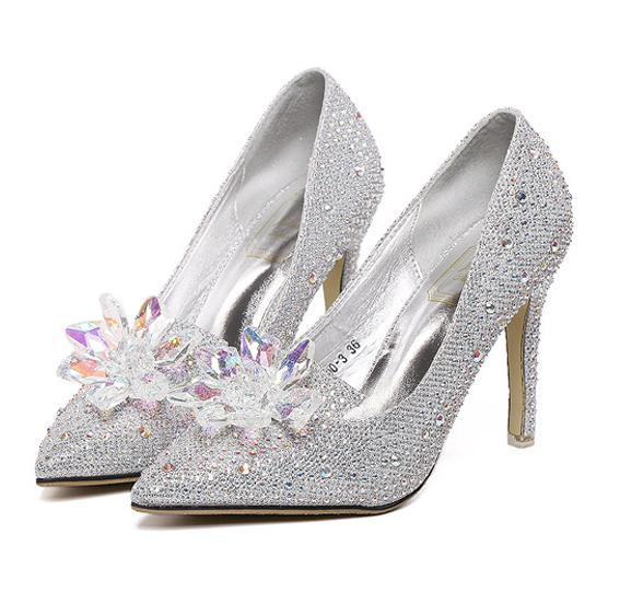 Cinderella crystal shoes women high heels party prom gown dress shoes rhinestone shoes wedding bridal shoes size 35 to 39