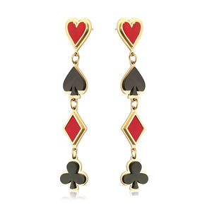 E-814 xuping playing card symbol earring, stainless steel joyeria en chapa de oro