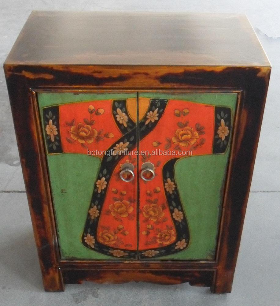 antieke meubels mongolië geschilderd kast lwb711-houten kasten ...