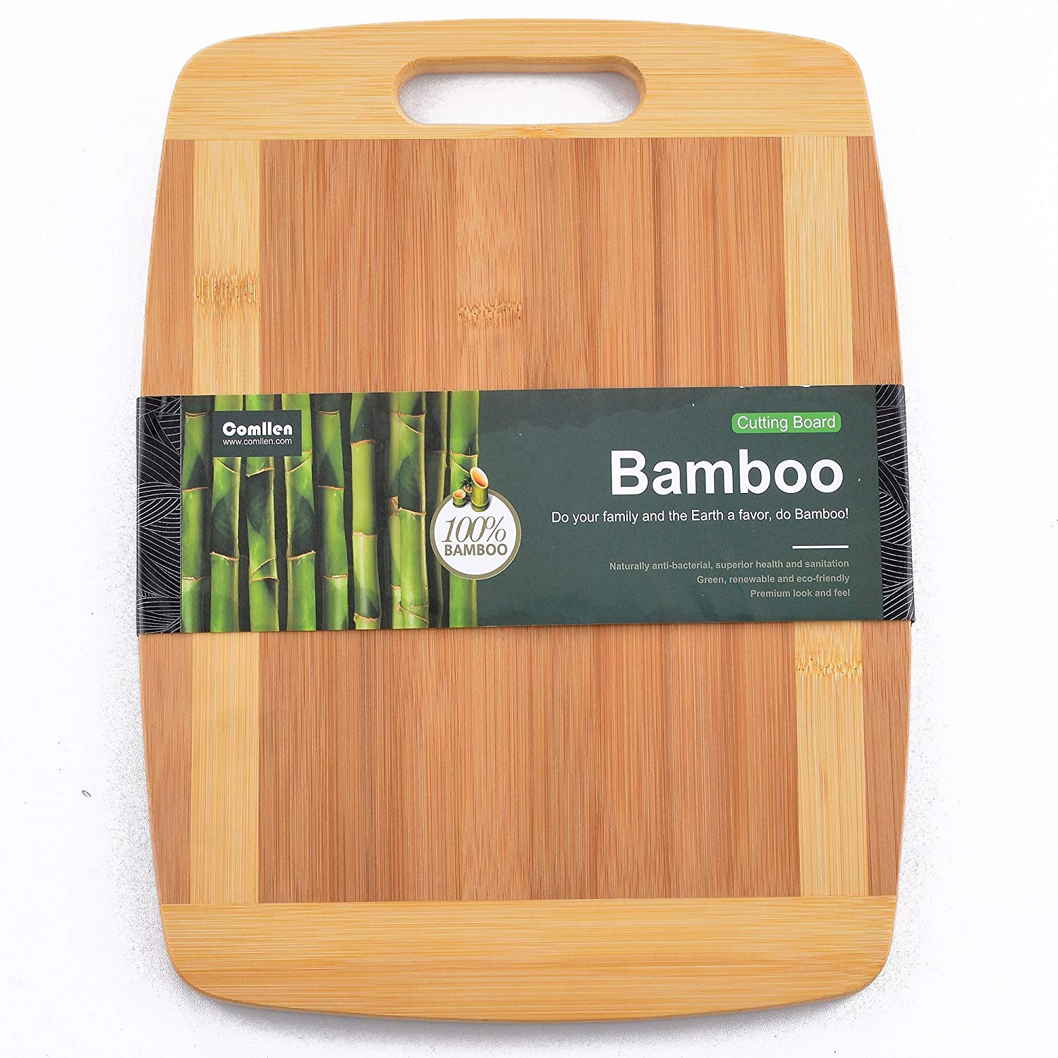 """Bamboo Cutting Board, Comllen Extra Large 13""""x 9.8"""" Bamboo Wood Cutting Board, Strong Thick Kitchen Chopping Board"""