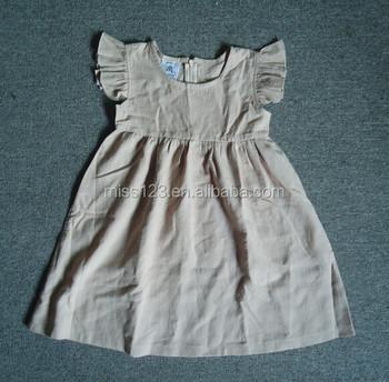 f862dff626f6 Cheap Korean cotton linen dress kids flutter sleeves dress design Fun baby  girls ruffle dress 2015