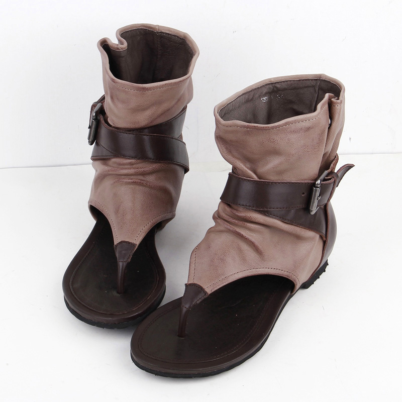 5a33274ee42 Buy women genuine leather pinch flat thong sandals female personality high- top flat heel thong sandals sub word in Cheap Price on m.alibaba.com