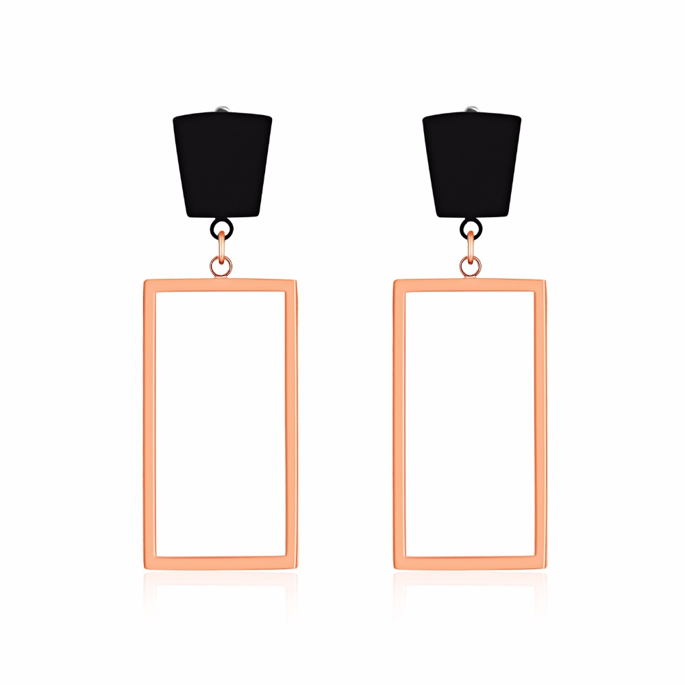 Trendy Rose Gold Square Party Stud Earring