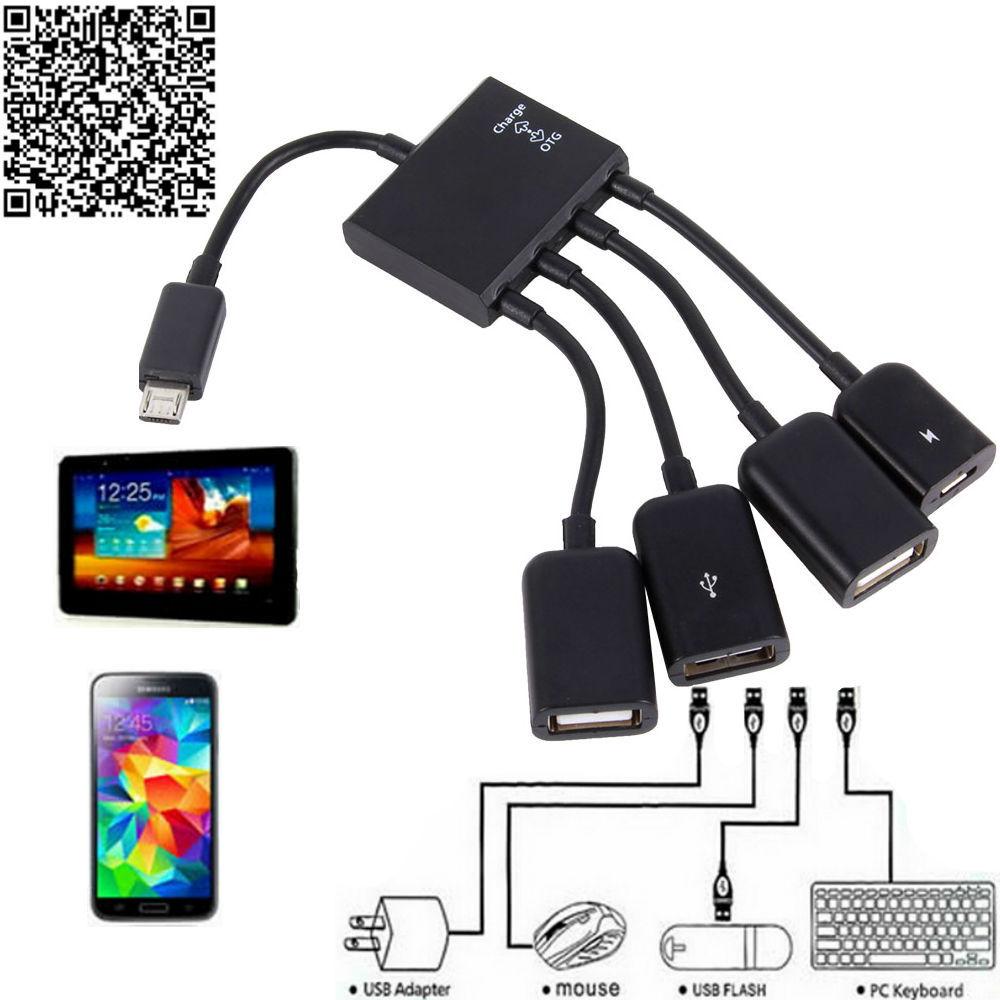 Free Ship Otg Hub Cable Connector Spliter 4 Port Micro Usb