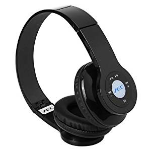 Headphone - AEC Bluetooth Headset Wireless Stereo Foldable USB Black Bluetooth, TF card music player, FM radio for music home, travel, fitness, sport with built-in microphone to dial and receive calls - compatible with iPhone 5, 4S, 4, ipad, ipod , samsung, HTC, sony, Nokia and other mobile phone