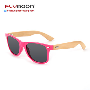 Fashionable Custom Logo PC Frame Sunglasses Flymoon Bamboo Leg Wooden Sunglasses