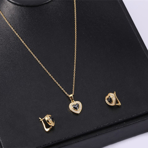 Charming Erring And Necklace Jewelry Set Heart Shop Ceramic Pendant For Women