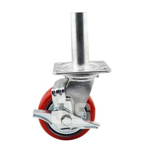 4 5 6 8 Inch High-Quality Heavy Duty Green Red PU Swivel Fixed Double Bearing Caster Wheel