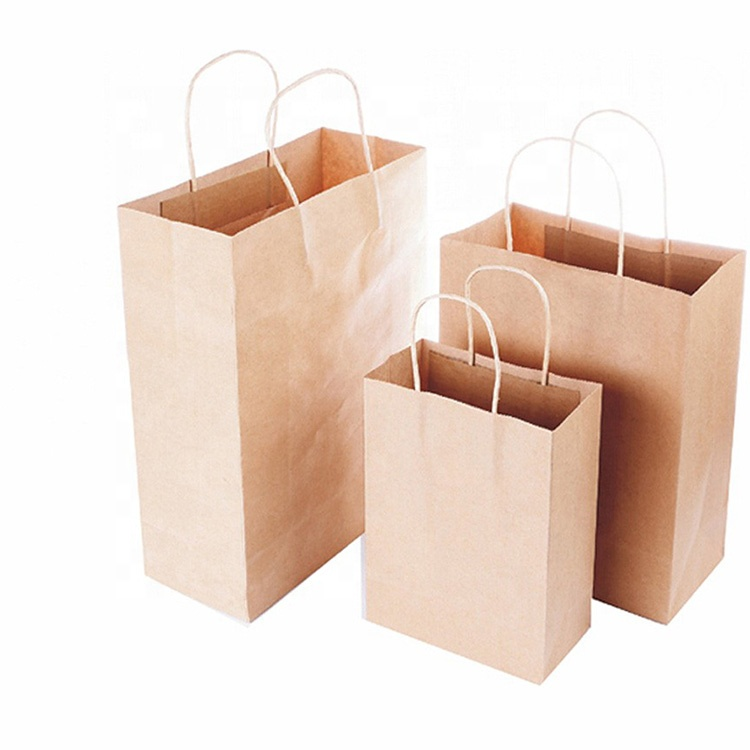 twisted shopping bag reinforcing in base and cuffs loop handles paperbags