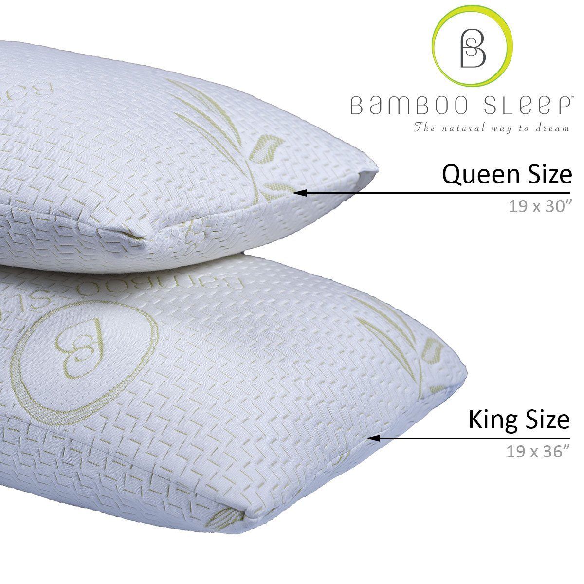 Hotel Comfort Bamboo Sleep Premium Bamboo Memory Foam Pillow Set. Ultra Cool Hypoallergenic Washable Bamboo Cover USA Designed (2 Pack Queen)