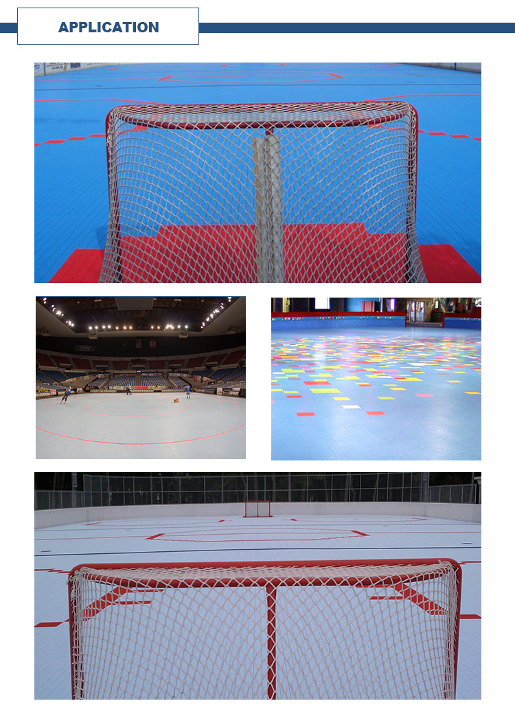 Indoor field hockey interlocking modular plastic tiles flooring for inline roller hockey court