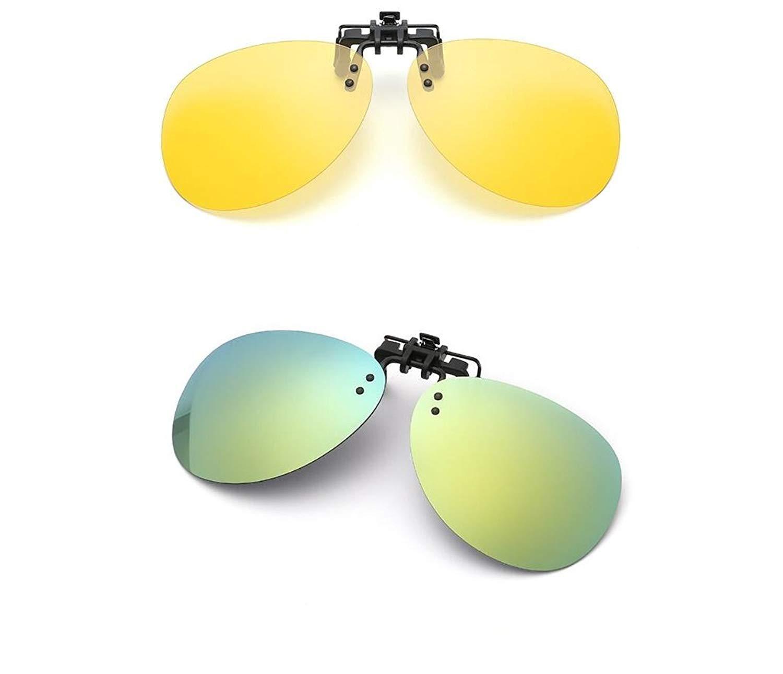 941213c0a3d Get Quotations · 2 PCS Day Night vision HD Polarized Clip-on Flip Up Clip  Sunglasses for Prescription