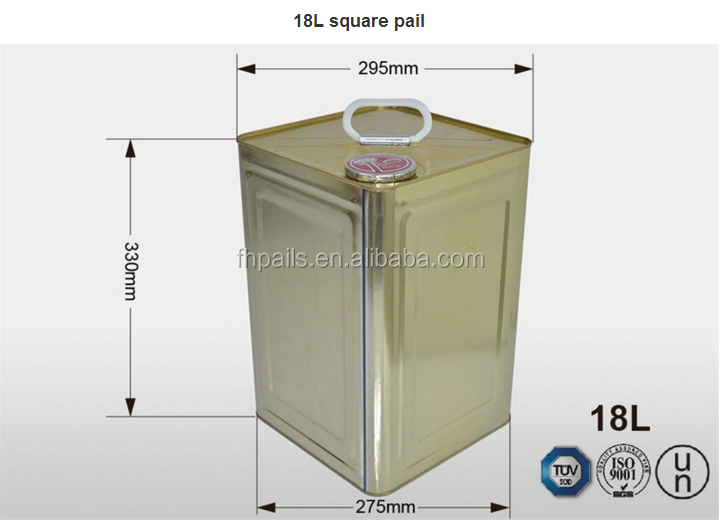 18L no leak square tin paint buckets with metal handle and flower/curled/lock ring lid in low price for chemical ues