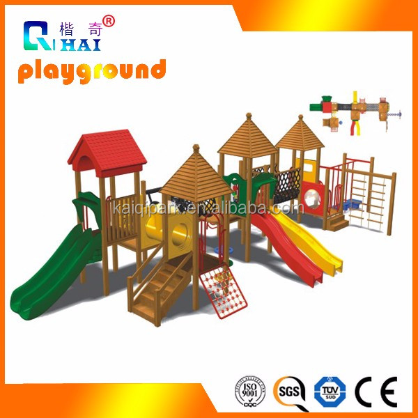 Magic tree wooden playhouse slide playground for kids