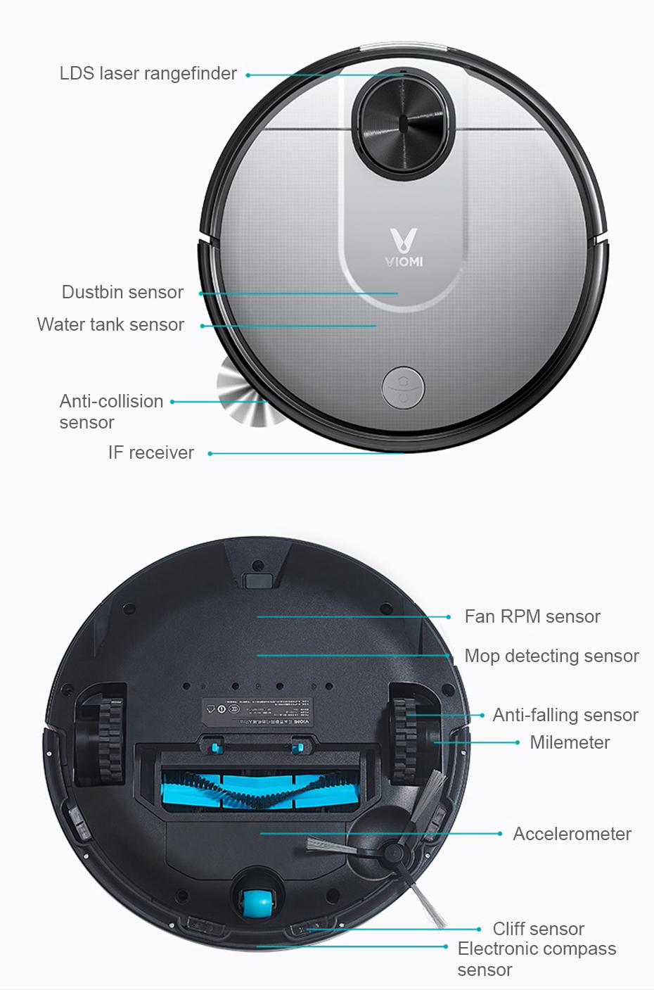 Xiaomi Pro Viomi V2 Aspirateur Intelligent Mi Robot 560ml